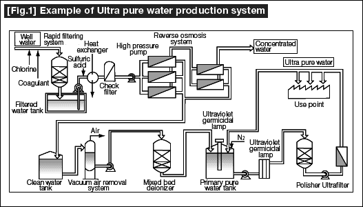 Example of Ultra Pure water production system